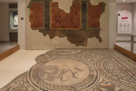 Atrium with large mosaic