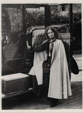 A photograph showing Mrs Pankhurst