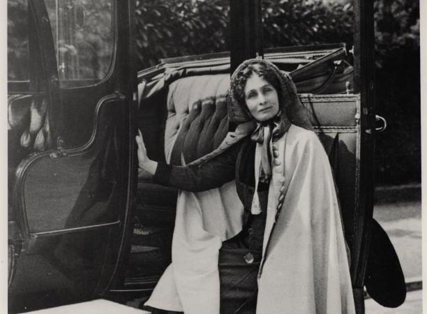A photograph showing Mrs Pankhurst