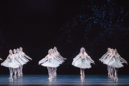 la bayadere artists of the royal ballet in the Kingdom of the shades scene.