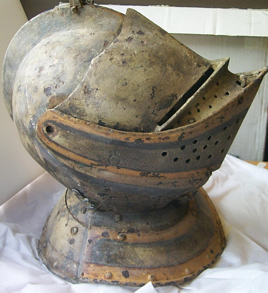Funerary helmet from the Strange tomb at All Saints Church, Somerford Keynes.