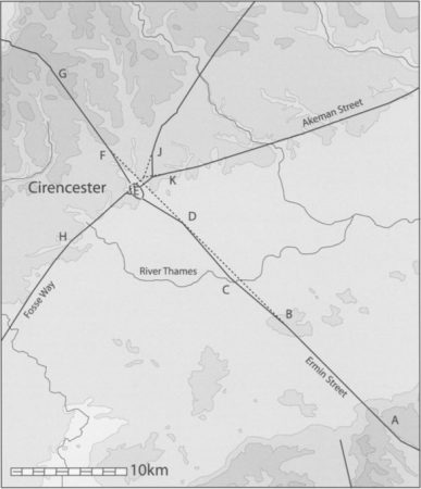Illustration of the main Roman roads at Cirencester